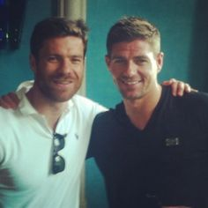 Xabi Alonso and Steven Gerrard, together again as they should be. Such an epic bromance.
