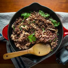 This pulled chicken with red rice is a satisfying cold weather supper.