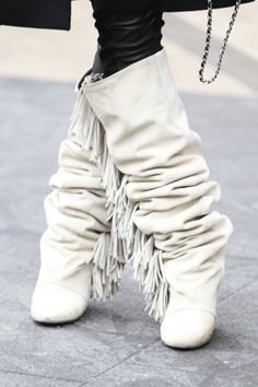 New York Fashion Week, Isabel Marant fun flat fringe boots Fashion Font, Look Fashion, Fashion Shoes, Womens Fashion, Fashion Accessories, Over Boots, Long Boots, Crazy Shoes, Me Too Shoes