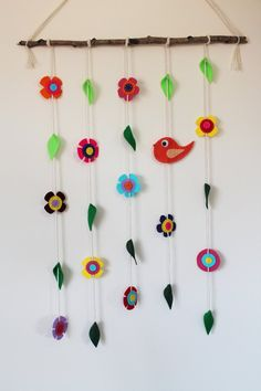 Bird Flowers and Leaves Wall Hanging/Mobile by TinyHappyBee Hanging Mobile, Craft Projects For Kids, Leaves, Bird, Toys, Unique Jewelry, Handmade Gifts, Wall, Flowers