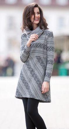 Green Cotton - Kleid - Jacquard aus Bio Baumwolle mit Alpaka, Größen S bis XL - Finesse Fashion ©