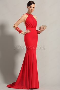 eDressit Long Sleeves Red Evening Dress Prom Gown (02150102) #edressit #red_gown #fashion