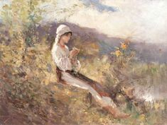 Nicolae Grigorescu Peasant Woman Sitting in the Grass - The Largest Art reproductions Center In Our website. Low Wholesale Prices Great Pricing Quality Hand paintings for saleNicolae Grigorescu Art Society, Large Art, Landscape Paintings, Painter, Plein Air, Art Reproductions, Painting, Art, Figurative Art