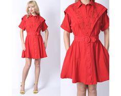 Vintage 80s Red Boho Retro Mini Dress Button by thekissingtree, $34.00