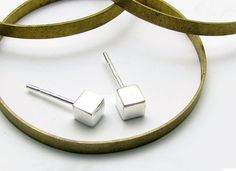cube stud earrings / etsy $16