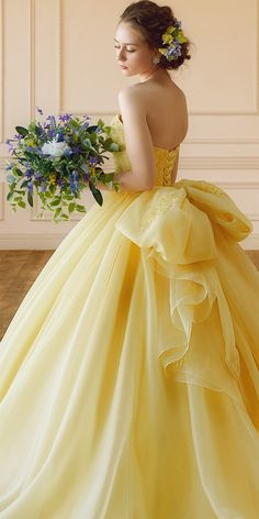 34 best yellow wedding dress images in 2019 Tulle Ball Gown, Ball Gown Dresses, Bridal Dresses, Wedding Gowns, Prom Dresses, Wedding Sundress, Evening Dresses, Couture Dresses, Afternoon Dresses