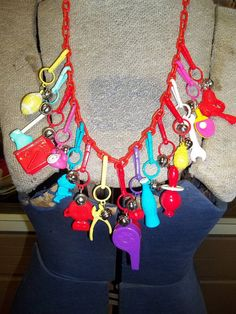 charms of the 1980s | Vintage Retro 1980's Plastic Charm Necklace loaded with 15 charms