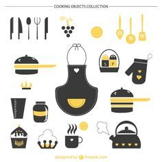 Silhouette Vectors, Photos and PSD files Diy Stickers, Planner Stickers, Kitchen Icon, Cuisines Diy, Recipe Scrapbook, Kitchen Wall Art, Recipe Cards, Filofax, Happy Planner