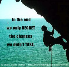 In the end we only REGRET the chances we didn't TAKE.  #Life #lifelessons #lifeadvice #lifequotes #quotesonlife #lifequotesandsayings #end #regret #chances #shareinspirequotes #share #inspire #quotes