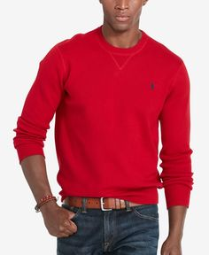 Ultra-soft combed cotton elevates this classic crew neck sweatshirt from Polo Ralph Lauren, making it a must-have for the season. | Combed cotton | Hand wash | Imported | Size medium has an approximat