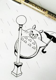 Inktober 06 Movie Totoro Singin Rain