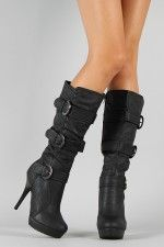 Diva Lounge Ricki-21 Buckle Knee High Boot