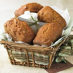 These mini-pumpkin bread loaves are flavored with cinnamon, cloves, and nutmeg, filled with golden raisins, and topped with a sweet cream cheese Holiday Bread, Christmas Bread, Christmas Foods, Christmas Crafts, Pumpkin Bread, Pumpkin Spice, Loaf Recipes, Cooking Recipes, Dessert Recipes