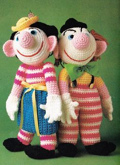 Vintage Crochet 1980's Mr & Mrs Clown Pattern 2 clowns