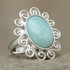 NOVICA Amazonite on Sterling Silver Ring from Peru ($71) ❤ liked on Polyvore featuring jewelry, rings, amazonite, single stone, sterling silver jewelry, novica, novica rings, novica jewelry and sterling silver rings