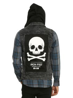 <p>Join the Iron Fist club and wear your allegiance loud and proud. Black denim vest with Iron Fist skull patching on the front and back, four front pockets, removable hoodand a front button closure.</p>  <ul> <li>99% cotton; 1% spandex</li> <li>Wash cold; hang dry</li> <li>Imported</li> <li>Listed in men's sizes</li> </ul>