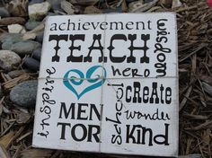 Teacher appreciation gift: subway art, vinyl lettering on wood board