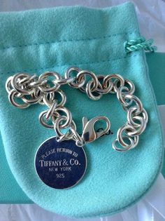 Authentic TIFFANY & CO Chunky Solid Sterling Silver 925 Round Return To Tiffany Charm Link Bracelet 35 Grams Vintage Women's Fine Jewelry EC by VintagePolice4U on Etsy
