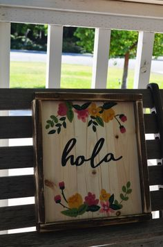 Hola-Hello-Spanish Rustic Wooden Sign by campfireshop on Etsy