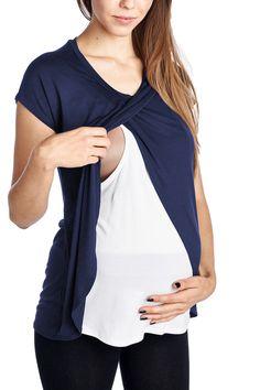 Hello Miz Short Sleeve Round Neck Color Block Asymmetrical Wrap Modal Nursing Top
