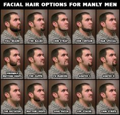 Different facial hair styles that don't look completely stupid, but some are close. I'm a fan of the Full Beard and the Goatee II