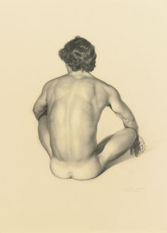 Claudio Bravo (1936-2011)    Seated male nude, graphite and charcoal, 61 x 48,2 cm. 1982.