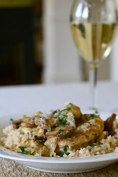 Chicken, Artichoke and Mushrooms in a wine sauce - use red instead.