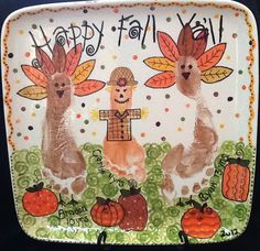 Happy Fall Y'all!   -- The cute little footprints were painted at #TheMadPotter #Houston