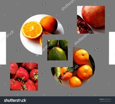 #Abstract #geometrical #composition filled with organic #fruits: sliced #pomegranate, cut #oranges, limes, #strawberries and tangerines, on gray background