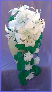 Crepe paper flower wedding bouquet