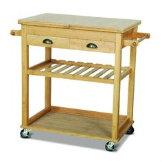 Robert Dyas Kitchen Trolley Double Width in Solid Bamboo with Lid Storage