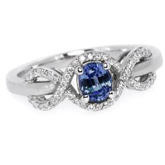 0.70ct Oval Blue Sapphire & Diamond Halo by JewelryPoint on Etsy, $875.00