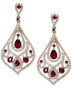 http://picvpic.com/women-jewellery-earrings/gemma-by-effy-14k-gold-ruby-2-3-4-ct-t-w-and-diamond-1-ct-t-w-drop-earrings?ref=6p2rFE #sale 40% OFF! Gemma by EFFY Ruby (2-3/4 ct. t.w.) and Diamond (1 ct. t.w.) Drop Earrings in 14k Gold
