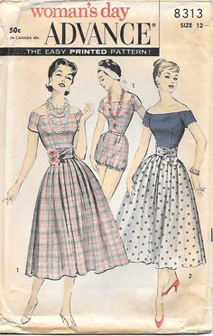 1950's Playsuit with Cummerband Skirt Advance 8313 Sewing Pattern, offered on Etsy by GrandmaMadeWithLove