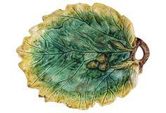 19th c. Majolica Oak Leaf & Acorn Dish