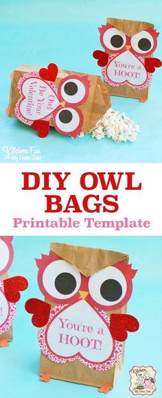 Cute Valentine Owl Craft! These Paper Treat Bags are a fun idea for kids to hand out to their friends at school for Valentine's Day. You can fill these with popcorn, candy, crafts, or anything you want! Free Printable paper bag kids craft.