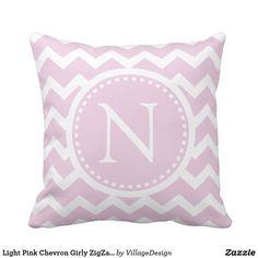 Light Pink Chevron Girly ZigZag Monogram