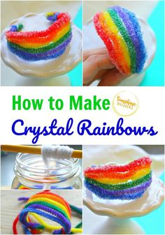 This is an excellent tutorial on how to make crystal rainbows. Such a fun science experiment for kids! Rainbow Activities, Science Activities For Kids, Cool Science Experiments, Rainbow Crafts, Rainbow Art, Stem Activities, Kindergarten Activities, Preschool Science, Easy Crafts