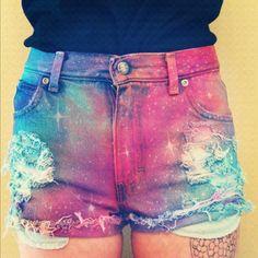 shorts tie dye galaxy print ripped high waisted shorts bag pants space ♥ galaxy…