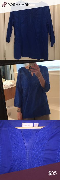 Selling this Chico's royal blue embroidered tunic. Chico's 0. on Poshmark! My username is: lads. #shopmycloset #poshmark #fashion #shopping #style #forsale #Chico's #Tops