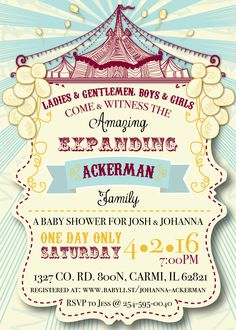 Circus Themed Baby Couple Shower Invitation & Party Package (DIGITAL COPY)
