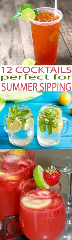 These 12 summer cocktails are the perfect recipes for summer sipping by the pool. Get your summer drink on with these fun alcoholic drinks including a fun party punch and easy cocktail recipes.