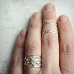 Hammered Stacking Rings Set Of 5. Just the scalloped shape but more pointed? Oxidized top and silver sides/underneath?