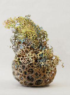 Karen Margolis: textures, circular shapes and the urban colour palette. Creative Connections, Basket Crafts, Weaving Art, 3d Shapes, Abstract Sculpture, Art Object, Fabric Art, Gourds, Mixed Media Art
