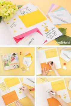 Ein Gästebuch für die Hochzeit zu gestalten geht ganz einfach. Mit der richtigen Idee und dem perfekten Basteltipp.  #diy #hochzeit #basteln #fragen #innenseiten #gästebuch #pimpmycards
