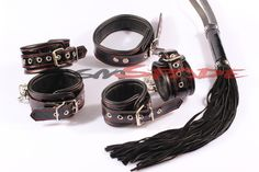 63.99$  Buy here - http://alil53.worldwells.pw/go.php?t=2012246884 - Genuine Leather Restraint Kit:hand&ankle cuffs collar leather whip Drop Shipping Leather Bounded Sex Toys Couples Sexy fun