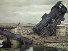 Destroyed locomotive and railroad bridge in the wake of the retreat of the Greek army from Turkey. Abandoned Train, Abandoned Places, Abandoned Cars, Albert Kahn, Railroad Bridge, Train Art, Rail Car, Old Trains, Art Moderne