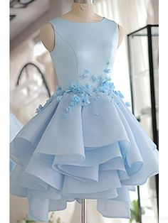 Sky Blue Layers Applique Short Homecoming Dresses Party Dresses Prom Dresses Cocktail Dresses Graduation Dresses(ED1849)