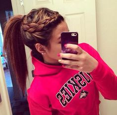Braided into ponytail.