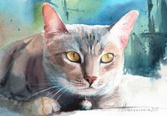 ARTFINDER: Blue and Amber by Anna Tikhomirova - A small painting of a cat staring intently with those beautiful cat eyes. Loose and confident watercolour.